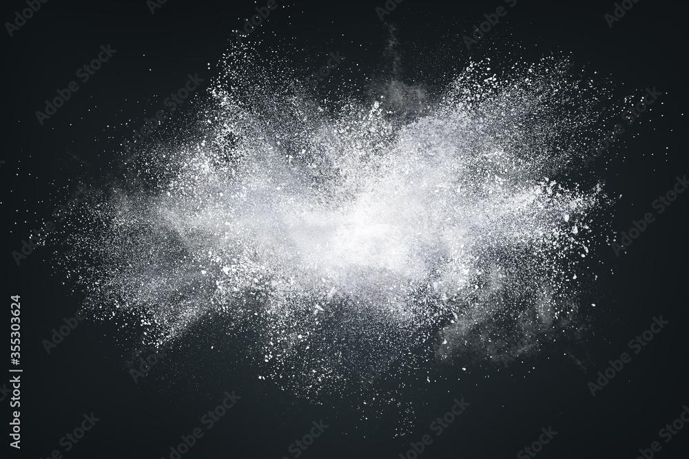 Fototapeta Abstract design of white powder cloud on dark background