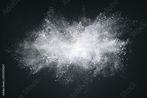 Fotografia, Obraz Abstract design of white powder cloud on dark background