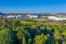 Aerial View Of Sport Stadiums In Melbourne, Australia