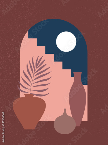 Slika na platnu Abstract contemporary aesthetic background with night landscape, stairs, palm, vases, Moon