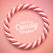 Candy Cane Circle Frame On Polka Dot Background