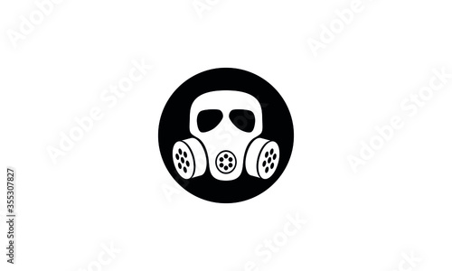 Gas mask grunge vector icon,Respirator face gas mask for air breathing apparatus Canvas Print