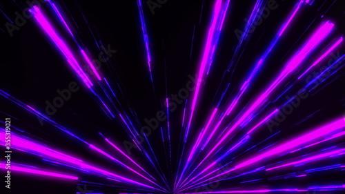 Fotografia Fast bright neon lines, computer generated