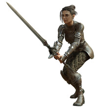 3D Rendered Female Warrior Isolated On White Background Fighting With Sword - 3D Illustration