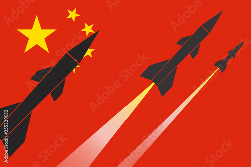 illustration of firing missiles on China flag background Canvas Print