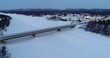 Aerial night video from village of Inari in Lappland, Finland