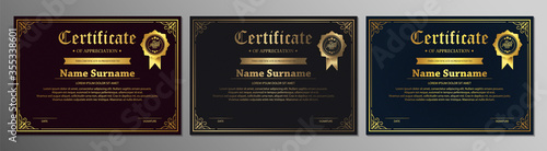 Photo Certificate of appreciation template with vintage gold border - Vector