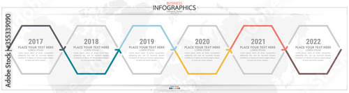 Fotografía Infographic business horizontal timeline process chart template