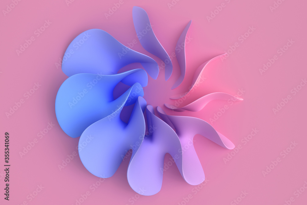 Fototapeta Pink and blue coral pastel light delicate abstract 3D background of a wave curving intertwining and writhing surface. 3D illustration with copy space