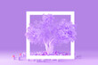 Leinwandbild Motiv 3D render of minimal clean design concept of a coniferous fluffy tree with a purple crown isolated on a light purple background with a square white frame around it. Environmental concept.