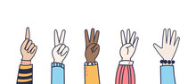 Vector Hands Counting Show Fingers. Colorful Line Style Isolated Elements. Trendy Hand Icons. Counting On Fingers. Modern Doodle Hand Wrists.
