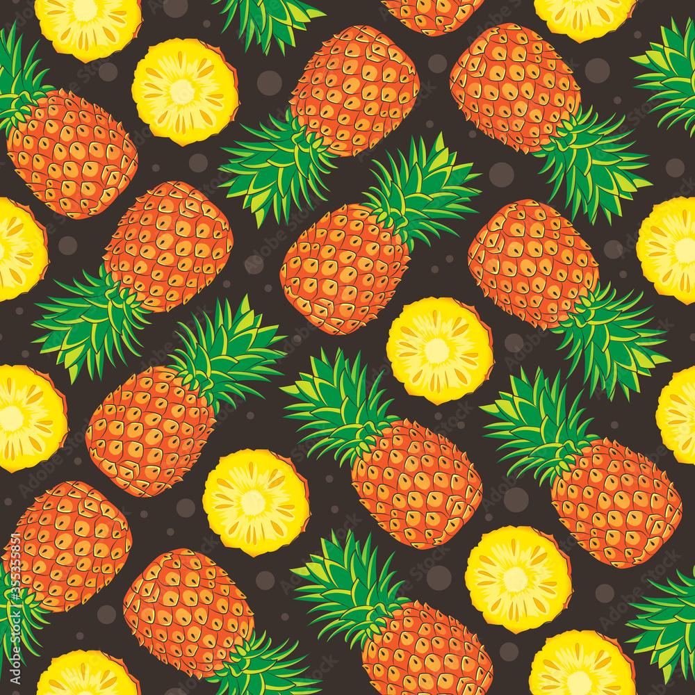 Fototapeta pineapple fruit seamless vector pattern