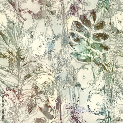 art vintage blurred colorful light watercolor and graphic floral seamless pattern with peonies, gerbera, grasses and leaves on white background. Double Exposure and Bokeh effect
