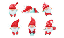 Fantastic Christmas Gnome Or Dwarf Character With Red Hat And White Beard Carrying Gift Box And Sleeping Vector Set