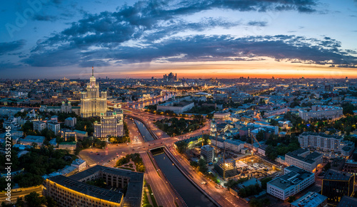 Obraz MOSCOW, RUSSIA - MAY 13, 2019: An aerial view of the Yauza River and the Kotelnicheskaya Embankment Building at sunset. - fototapety do salonu