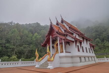 View Morning Of Buddhist Temple Around With Soft Fog Background, Wat Santi Khiri, Doi Mae Salong Nok, Chiang Rai, Northern Of Thailand.