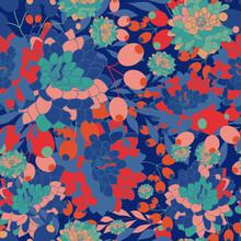 70's Style Floral Vector Seamless Repeat Pattern.dalia Flower Pattern In 70s Color Pallette.on-trend Florals.