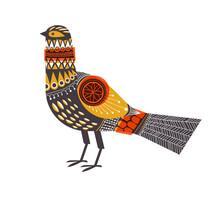 Bird In Mid-century, Scandinavian Design. Eps10 Vector