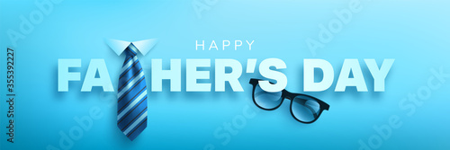 Obraz Happy Father's Day poster or banner template with king necktie and glasses.Greetings and presents for Father's Day.Vector illustration EPS10 - fototapety do salonu
