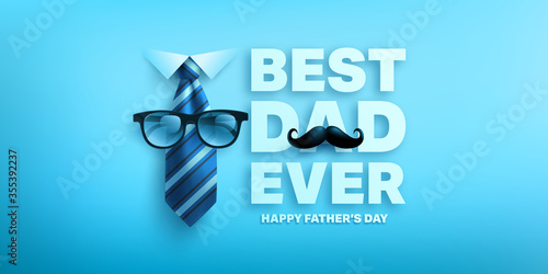 Cuadros en Lienzo Happy Father's Day poster or banner template with king necktie and glasses