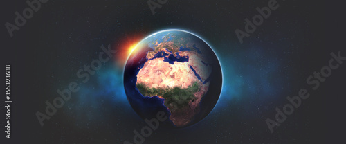 Obraz Planet Earth 3D illustration. View from orbit to African continent and Europe. Night and bright city lights. Elements of this image are furnished by NASA - fototapety do salonu