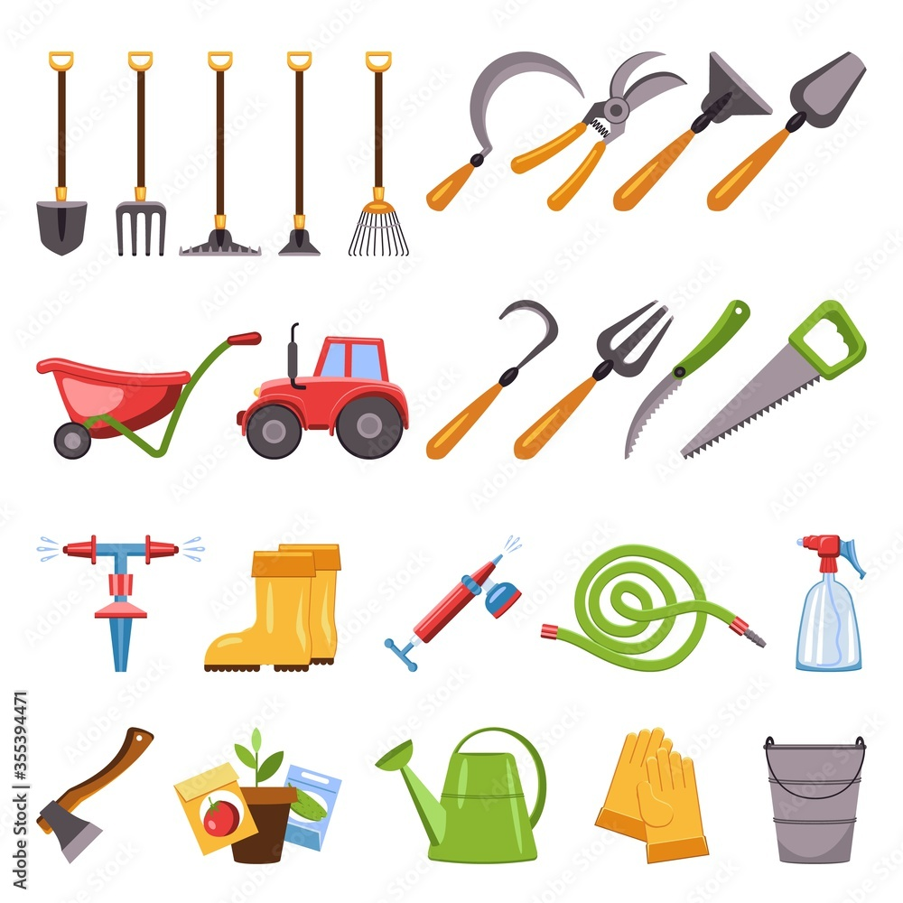 Fototapeta Farming equipment icons set. Cartoon set of farming equipment vector icons for web design