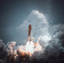 Space Shuttle Launches With Dr...