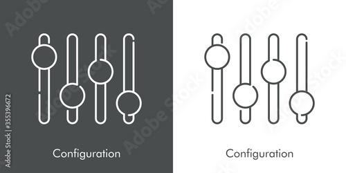 Photo Icono plano lineal palabra Configuration con ecualizador en fondo gris y fondo b