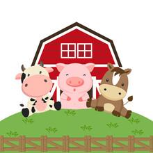 Farm Animals Cartoon. Cow Pig ...
