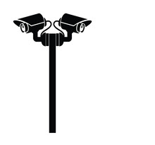Cctv Black For Isolated Icons On White Cctv In Digital Technology For Safety Vector Technology App Symbol