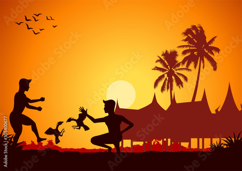 men playing cock fighting gamble around with country rural life in silhouette st Fototapeta