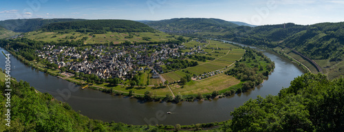 Fototapeta With the bike on the cycle path through the countryside along the river Moselle