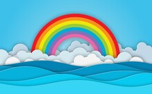 Sea View. Cloud And Rainbow In...