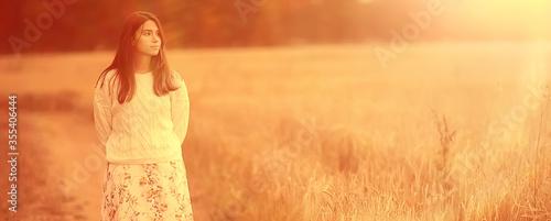 Fototapeta summer nature portrait girl warm background, young girl model posing outdoors beautiful obraz
