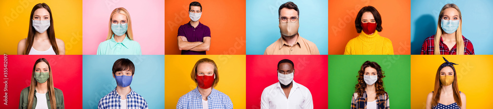Fototapeta Stop covid-2019 concept. Photo montage multiple composite image of careful crowd of people of different age and ethnicity using face facial sterile masks isolated over colorful background