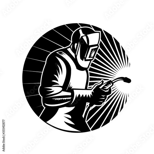 Fototapeta MIG Welder Arc Welding with Welding Torch Side View Circle Retro Black and White