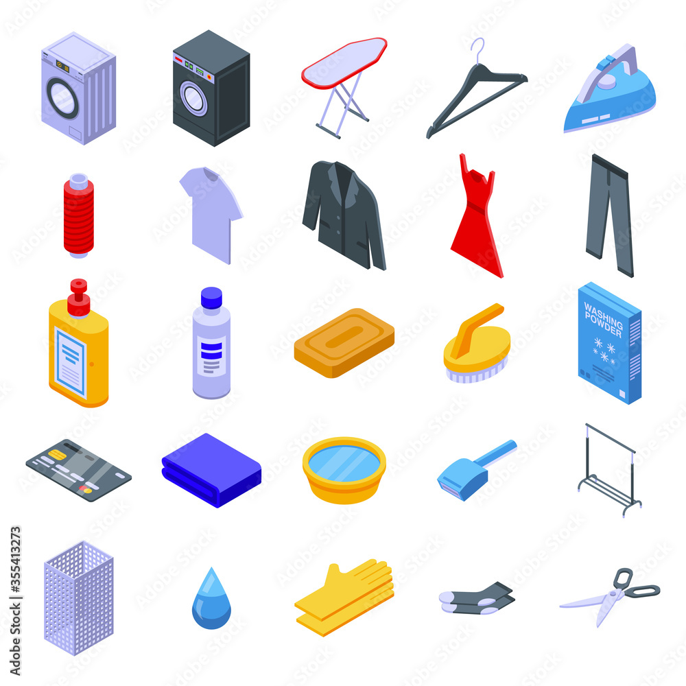 Fototapeta Dry cleaning icons set. Isometric set of dry cleaning vector icons for web design isolated on white background