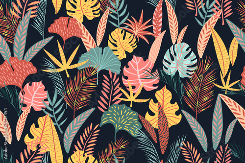 Cuadros en Lienzo Seamless pattern of abstract tropical leaves.