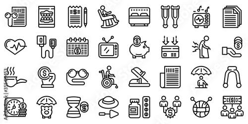 Obraz Retirement icons set. Outline set of retirement vector icons for web design isolated on white background - fototapety do salonu