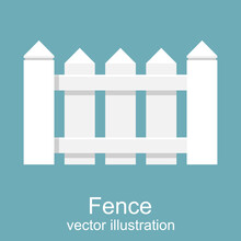 White Wooden Fence. Picket Whi...