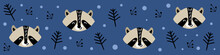 Web Banner With Cute Raccoon F...