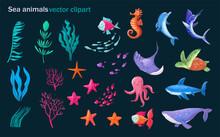 Sea Animals And Plants. Set Of...