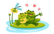 Two Frogs In Love Are Sitting ...
