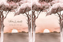 Watercolor Landscape: African Desert Sunrise. Hand Painted Nature View With Acacia Trees. Beautiful Safari Scene For Wedding Invitation Pre-made Card Design