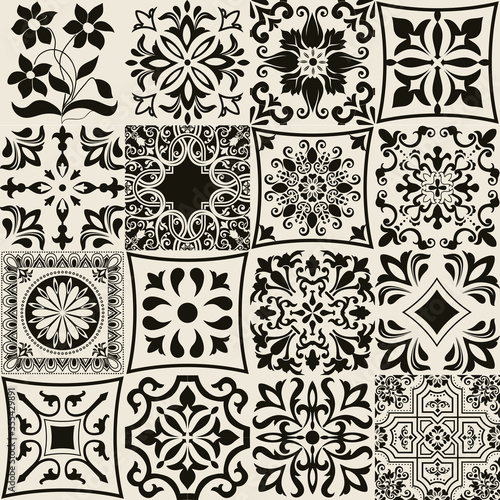 Tapety do Garderoby  set-of-16-tiles-azulejos-original-traditional-portuguese-and-spain-decor-seamless-patchwork