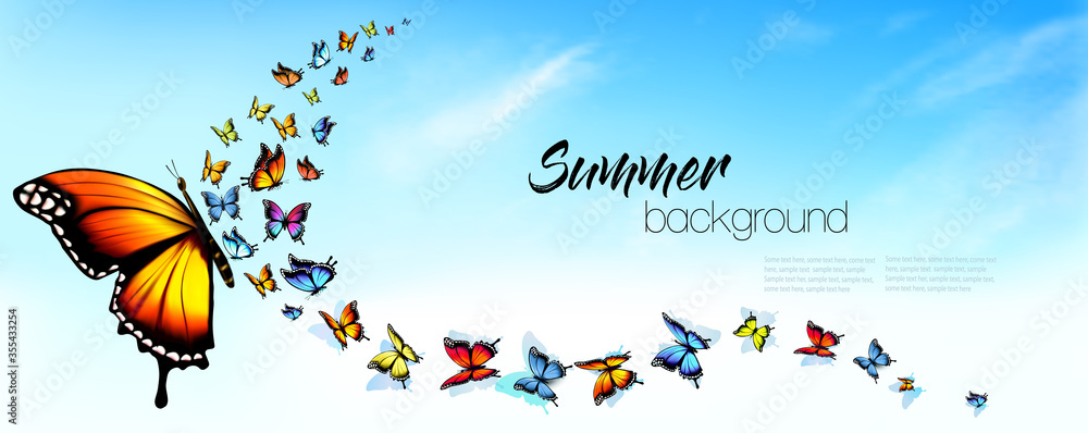 Fototapeta autiful Abstract Summer nature background with Colorful Butterflies and Blue Sky with White Clouds. Vector.