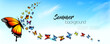 autiful Abstract Summer nature background with Colorful Butterflies and Blue Sky with White Clouds. Vector.