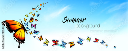 Fotografía autiful Abstract Summer nature background with Colorful Butterflies and Blue Sky with White Clouds