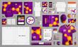 Purple corporate identity template design with AAAAAAA. Business stationery