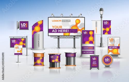 Obraz na płótnie Purple outdoor advertising design for corporate identity with orange molecules